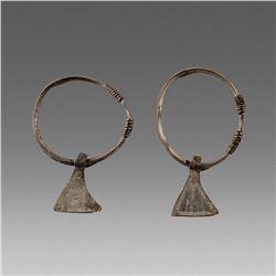 Ancient Cetlic Pair Silver Earrings c.800 BC.