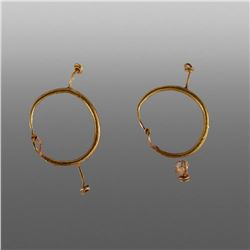 Ancient Roman Pair of Gold Earrings c.3rd cent AD.