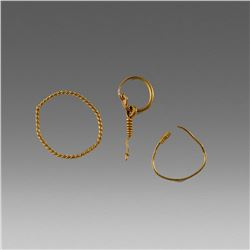 Lot of 3 Ancient Roman Gold Single Earring c.3rd cent AD.