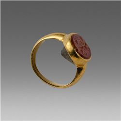 Ancient Roman Gold Ring with Carnelian Intaglio Ca. 1st-2nd century A.D.