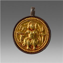 India, Gold Plated Amulet with Deity c.19th century.
