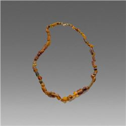 Ancient Roman Yellow Glass Bead Necklace c.1st-2nd century AD.