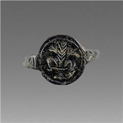 Ancient Medieval Bronze Ring c.13th-14th cent AD.