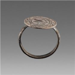 Ancient Medieval Silver Ring c.14th cent AD.