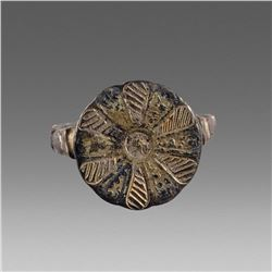 Ancient Byzantine Gilt Silver Ring c.10th cent AD.