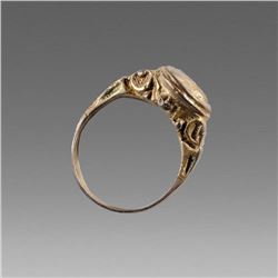 England, Antique Silver Gilt Ring with Female head c.17th cent AD.