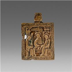Antique Cast Bronze Russian Icon c.18th cent AD.