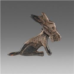 Antique Mexico Silvered Brooch with running Dog.