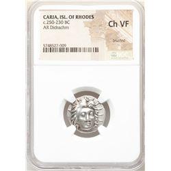 Ancient CARIAN ISLANDS. Rhodes. Ca. 250-230 BC. Silver didrachm