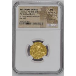 Ancient Byzantine Leontius (AD 695-698). Gold solidus