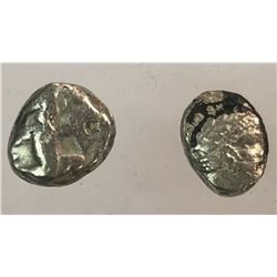 Lot of 2 Coins Phoenicia Arados AR Diobol, Persian Siglos