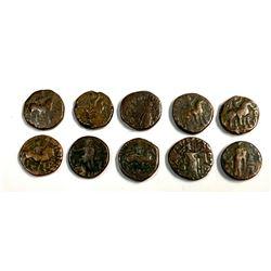 Lot of 10 Indo Sasanian Bronze Coins Tetradrachm.