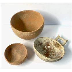 Lot of 3 Cyrpiot Pottery bowls c.1000 BC. Size 4 - 2 1/2 inches diameter. Ex New York City collectio