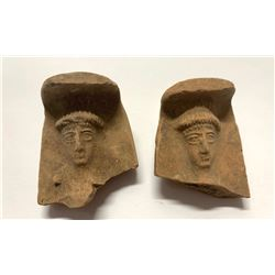 Lot of 2 Ancient Phoencian Terracotta Fragments c.6th century BC. Size 1 3/4 inches high. Provenance
