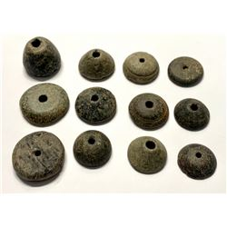 Lot of 12 Ancient Roman Stone Spindle Whorls c.1st-4th century AD.