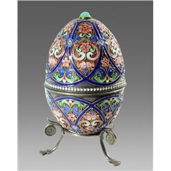 Russian silver and enamel egg.