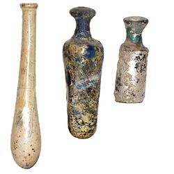 Lot of 4 Ancient Roman, Islamic Glass Bottles c.2nd-8th century AD.