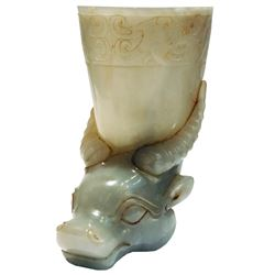 Chinese Jade Rython Vessel with Bull Head.