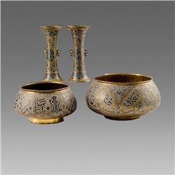 Lot of 4 Syrian Mamluk Revival Silver Inlaid Bowls and Vases c.late 19th century.