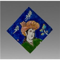 Persian Ceramic Tile with a Youth.