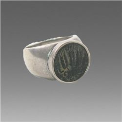 Ancient Holyland Bronze Coin of Agrippa set in silver ring.