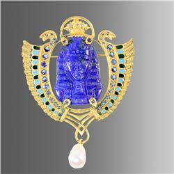 Egyptian Revival Gold Brooch with Lapis Lazuli Bust of pharaoh.