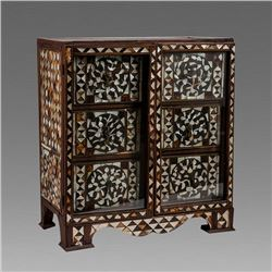 18th century Spanish portuguese Mother Of Pearls Inlaid Cabinet.