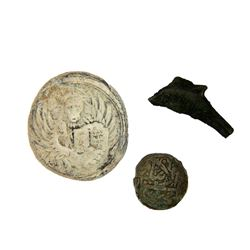 Lot of 3. 1 byzantine lead weight with lion. 1 greek bronze dolphin coin. 1 islamic bronze coin.