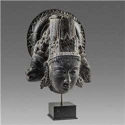 Indian Black Stone Head Of Deity with two animal heads.