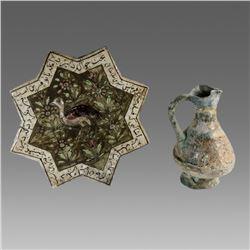 Lot of 2 Persian Luster ware Star Tile and Kashan Ceramic Jug c.13th century AD.