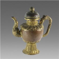 Antique Tibet Gilded Copper footed Ewer.