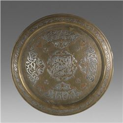 Syrian, Mamluk Revival Cairoware Silver inlaid Copper Tray.