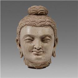 Gandhara Style Stucco Head Of Buddha.