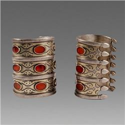 A pair of Middle eastern Tribal Silver Bracelets with stone inset.