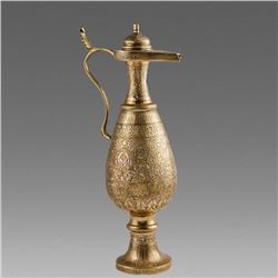 Middle Eastern Mamluk Revival Silver Inlaid Brass Ewer with Kufic Arabic calligraphy.