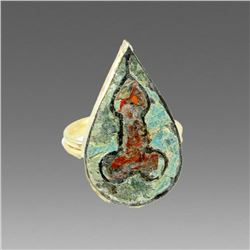 Roman Style Gold Ring With Enamel depicting Phallus.