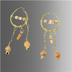 A pair of Islamic Gold Earrings with banded agate beads.