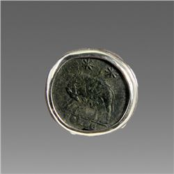 Ancient Roman Bronze Coin Set in Silver Ring.