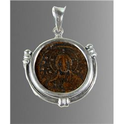 Ancient Byzantine Bronze Coin With Christ c.976 AD, set in a Silver Pendant.