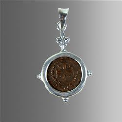 Ancient Armenia Bronze Coin Set in Silver Pendant.