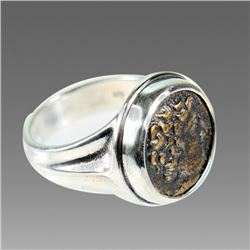 Ancient Greek Bronze Coin Set in Silver Ring.