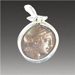 Ancient Greek Bronze Coin Kyme 250 BC, set in Silver pendant.