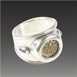 Ancient Biblical Widows Mite coin Set in Silver Ring.