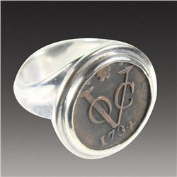 VOC Bronze Coin 1734 Set in Silver Ring.