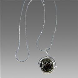 Ancient Roman Bronze Coin Set in Silver necklace.