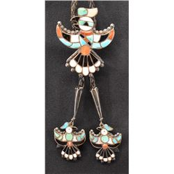 ZUNI INDIAN PENDANT INDIAN THUNDER BIRD BOLO