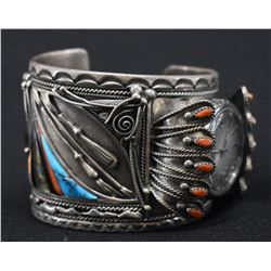 NAVAJO INDIAN WATCH BRACELET (WILSON BEGAY)