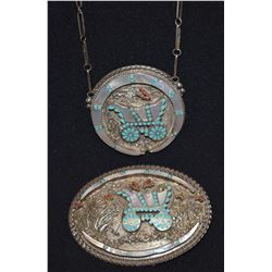 ZUNI INDIAN BUCKLE AND NECKLACE (VINCENT DISHTA)