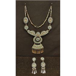 ZUNI INDIAN NECKLACE & EARRINGS