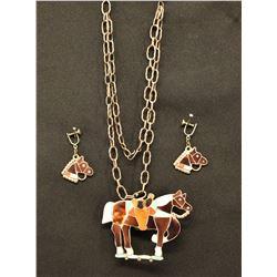 ZUNI INDIAN NECKLACE AND EARRINGS (NORA LEEKITY)